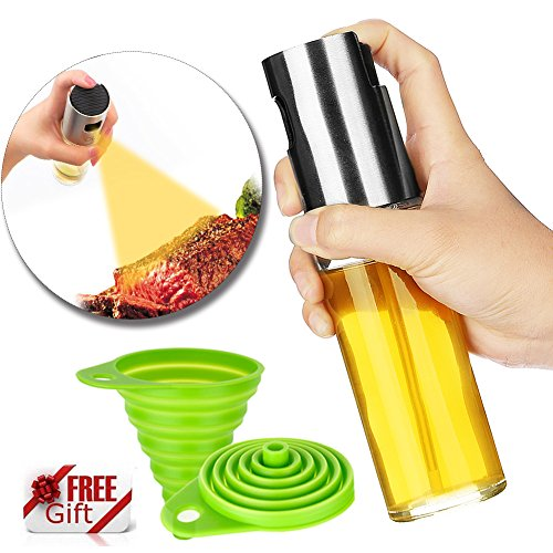 Olive Oil Sprayer for Cooking, STRONGEST & PORTABLE - Best Oil Spray Bottle for BBQ\Making Salad, [BONUS - Collapsible Silicone Funnel] (Lime Grilling Sauce)