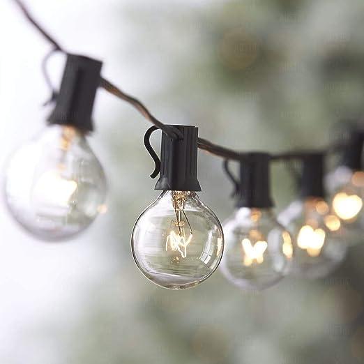 Anting 25Ft Impermeable Cadena de Luces con 12+1 Bombillas LED E12 Blanco C/álido 1 Bombilla de Repuesto Decorative Guirnalda de Luces para Jard/ín Terrace Patio Fiesta Boda G40 Guirnaldas Luminosas