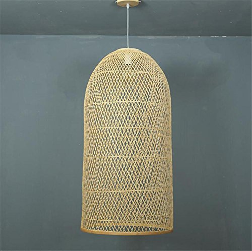 LUCKY CLOVER-AChandelier Ceiling Pendant Light Shade Hanging Lamp Lattice Wicker Rattan Handmade Gift Chinese style Retro Country Style Lighting , Double (For Wicker Resin Paint Spray Furniture)