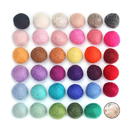 100% Wool Felt Balls - 35PCS | Assorted Color Pure Wool Pom Poms Bulk for Craft & Christmas Decoration