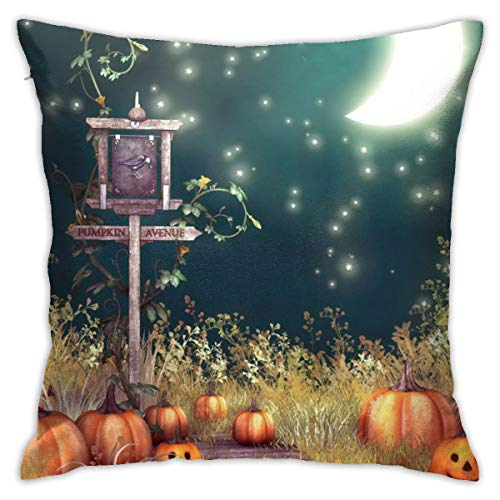 FPSMOUPD Pumpkin Town Twin Sides Pillow Cases 18x18 Inch Customize Extra Soft Throw Pillow Cover