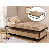 twin size black finish metal day bed daybed frame u0026 pop up trundle