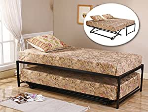 39'' / Twin Size Black Metal High Riseer Bed Frame With Pop Up Trundle