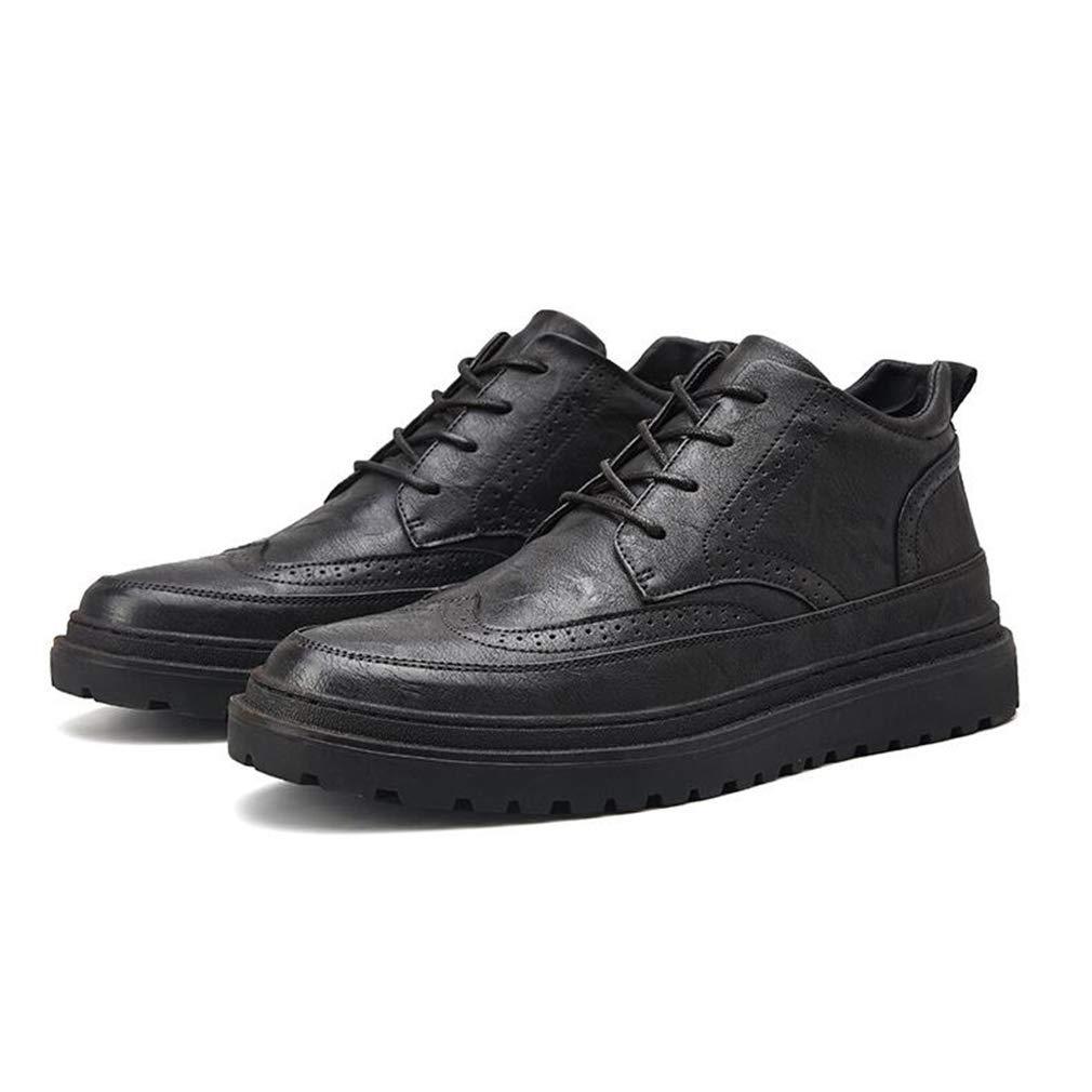 Hy Herren Freizeitschuhe, Frühjahr Herbst Leder Lace-up Martins Stiefel, formelle Business-Schuhe Comfort Driving Schuhe (Farbe   Schwarz, Größe   43)