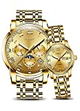 Automatic Mechanical Watch Men Women Stainless Steel Lovers Watches Luminous Waterproof Couple Watches (Gold)