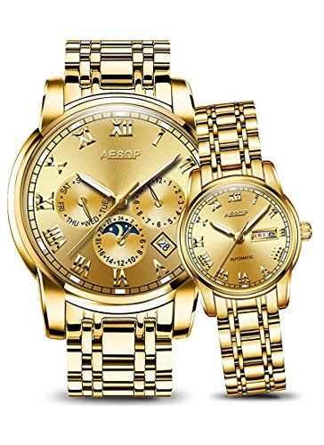 Automatic Mechanical Watch Men Women Stainless Steel Lovers Watches Luminous Waterproof Couple Watches (Gold) by MASTOP