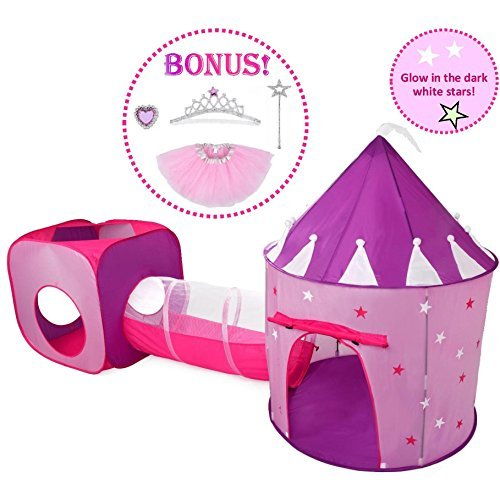 Dress Up Castle Storage (Princess Tent with Tunnel for Girls Play Tent Castle w Glow in the Dark Stars. Princess Dress up Tutu Costume Gift set! Tent for Kids Children P rincess Pink Play-house Pop Up Tents, by Hide-n-Side)