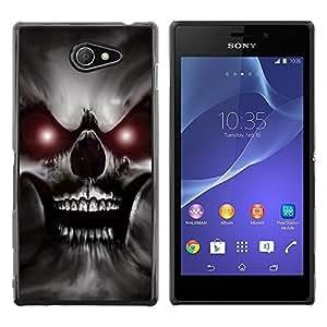Be Good Phone Accessory // Dura Cáscara cubierta Protectora Caso Carcasa Funda de Protección para Sony Xperia M2 // Skull Red Eyes Devil Evil Villain Monster
