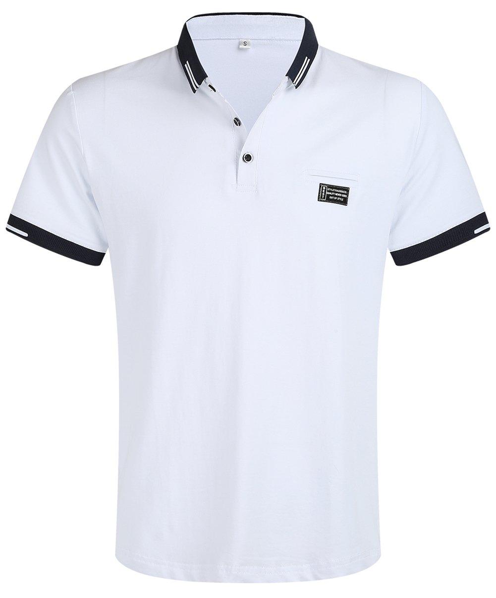 Musen Men Short Sleeve Polo Shirt Cotton Regular Fit T-Shirts White L