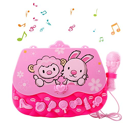 M SANMERSEN Karaoke Machine Toys for 3-6 Year Old Girls, Portable Musical Bag with Microphone Karaoke Player Toys for Girls Gifts Age 3 4 5 6 Xmas Gifts Pink