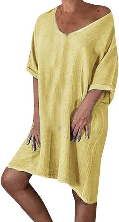 Sylar Vestidos Verano Mujer Casual Media Manga Vestidos De Fiesta Cortos De Noche Vestido Playa Mujer