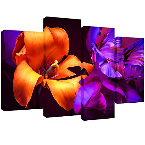 KLVOS 4 Pieces Flower Framed Canvas Art Orange and Purple Tulips Floral Artwork in The Night Light Poster Prints Wall Art Home Decor Stretched and Framed for Bedroom Ready to Hang 32inch x48inch