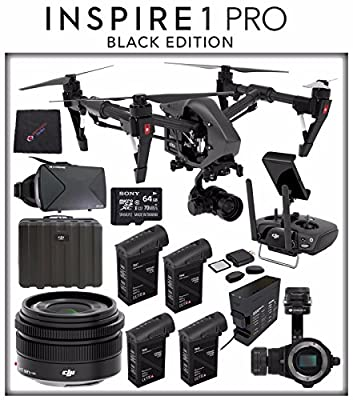 DJI Inspire 1 v2.0 PRO Black Edition Quadcopter with Zenmuse X5 4K Camera and 3-Axis Gimbal + Three Spare DJI Inspire 1 TB48 Intelligent Flight Batteries for More Flight Time + Charging Hub & MORE!