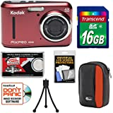 Kodak PIXPRO Friendly Zoom FZ43 Digital Camera (Red) 16GB Card + Case + Tripod + Kit