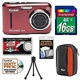 KODAK PIXPRO Friendly Zoom FZ43 Digital Camera (Red) with 16GB Card + Case + Tripod + Kit