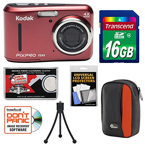 KODAK PIXPRO Friendly Zoom FZ43 Digital Camera (Red) with 16GB Card + Case + Tripod + Kit by Kodak