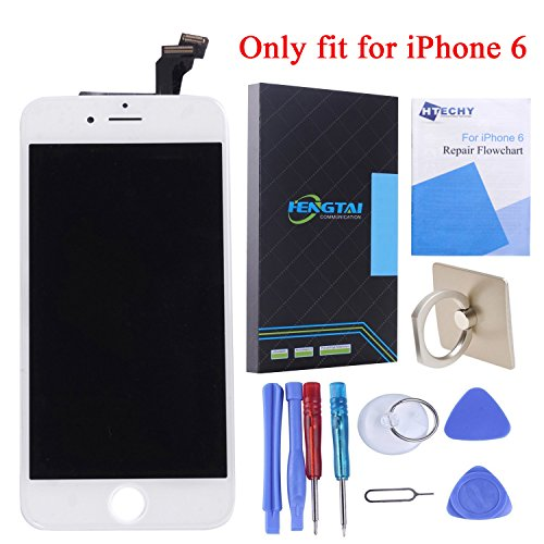 HTECHY LCD Screen Display Digitizer Touch Screen Replacement kit with Frame Repair Tools for iPhone 6 4.7inch (White)