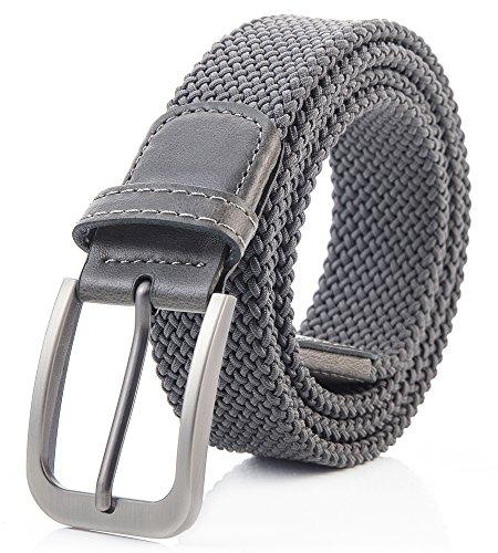 Weifert Belt for Men Braided Stretch Belt/No Holes Elastic Fabric Woven (Men Fabric Belt)