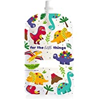 Sinchies 200ml Reusable Food Pouches BPA Free Safe Baby Infant Squeeze 5 or 10 Pack — Dinosaurs (5 Pack)