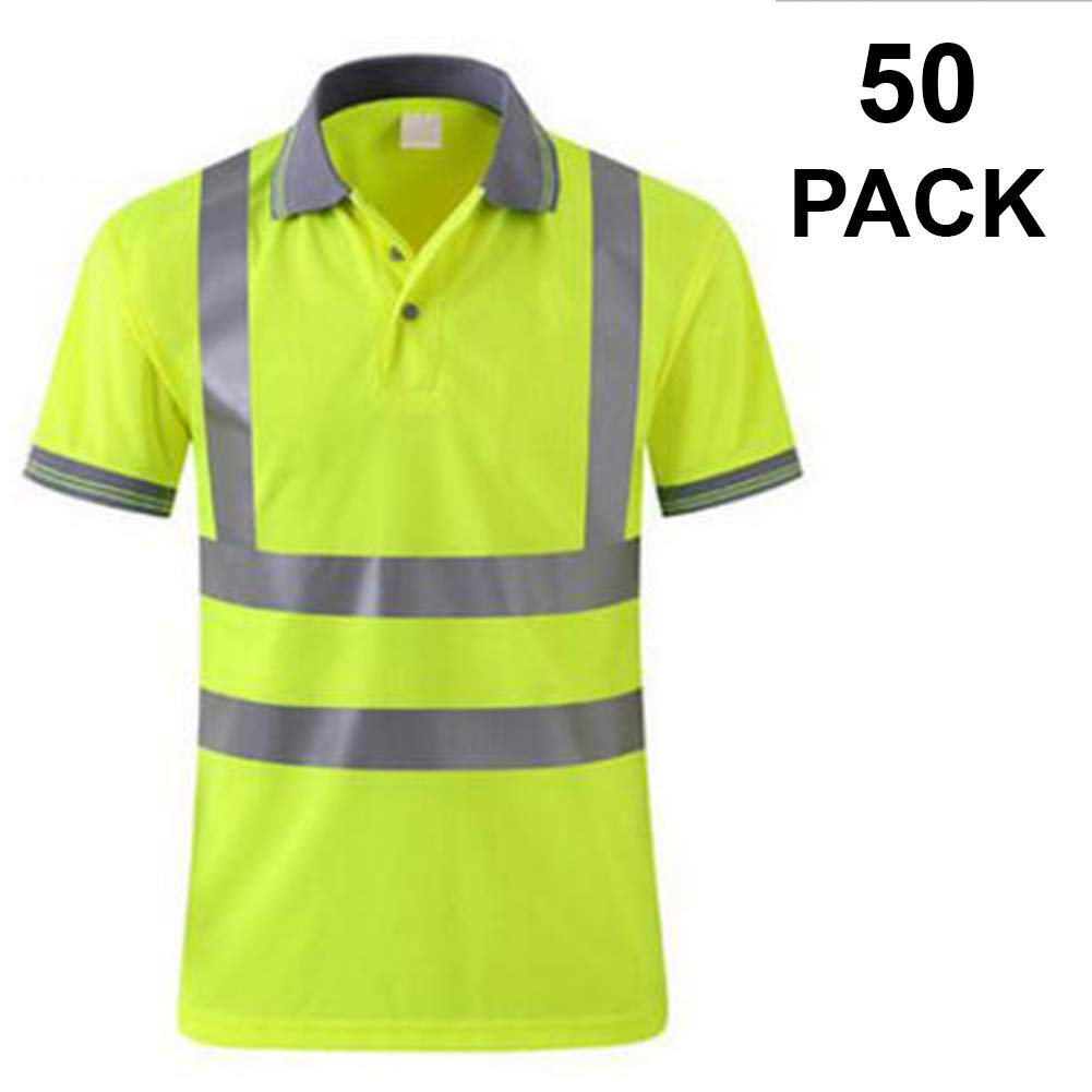 TOPTIE 50 PCS Men's Polo Shirts, Short Sleeve Safety Neon Yellow Shirt for Night Running Wholesale by TOPTIE (Image #1)