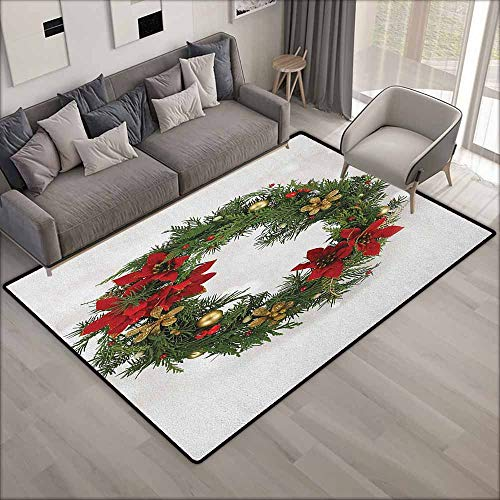 (Outdoor Patio Rug,Christmas Floral Wreath Cultural Design Poinsettia Blossoms Holly Pine Cone Branches,Anti-Slip Doormat Footpad Machine Washable,3'3
