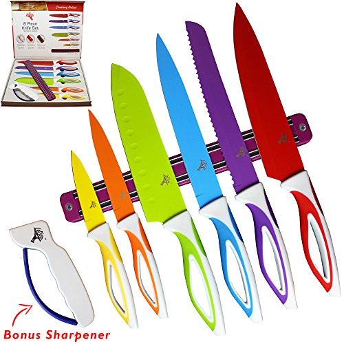 Color Knife Set - Top Stainless Steel Knife Set - Gift Set in Box by LeDishTM - Includes Chef, Bread, Slicer, Santoku, Utility, Paring Knife - PLUS Magnetic Strip and Professional Sharpener (Ats Fixed Blade Knife)