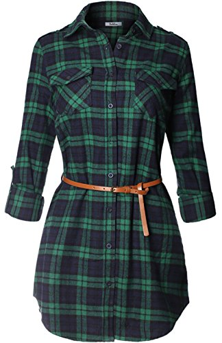 BodiLove Women's Long Sleeve Belted Plaid Flannel Shirt Dress Navy Green L (Navy Plaid Flannel)
