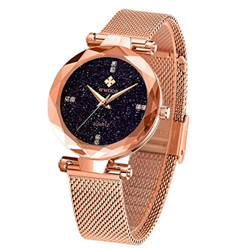 - WWOOR Women's Watch Fashion Star Watch Analog Quartz Watches with Stainless Steel Mesh Band Waterproof Wristwatch Casual Gift Watch Ladies (Rose Gold)