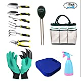Garden Tools Set, RealTX 11 PCS Gardening Tools Set with Storage Organizer Tote, Include Garden Gloves Shove,Gardening Pruner Rake,Soil PH Meter,Ergonomic Gardening Gifts Tool Set for Women Men Adults