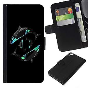 Yin Yang Orca Whales - la tarjeta de Crédito Slots PU Funda de cuero Monedero caso cubierta de piel HTC Desire 820