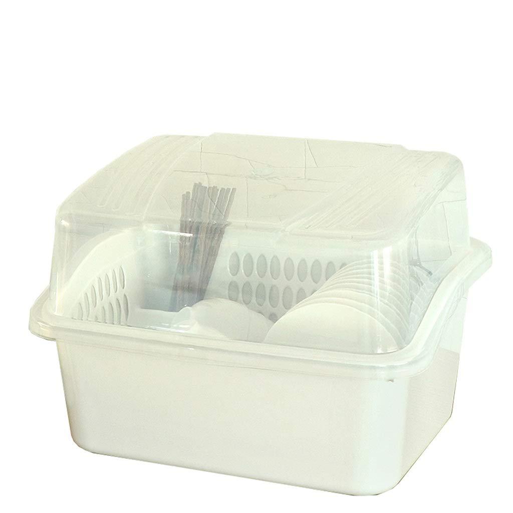 ドレンラック、食器収納ボックス、ふた付き特大プラスチック、キッチン、皿、ドレン、カトラリー、収納ボックス、ラック (Color : Thousand grass, Size : 52*42*36.5cm) B07SWZYFR5 Thousand grass 52*42*36.5cm