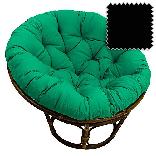 42-Inch Bali Rattan Papasan Chair with Cushion - Solid Twill Fabric, Black