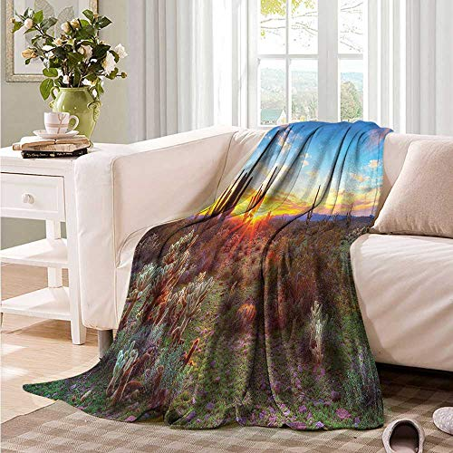 Oncegod Sofa Cushion Saguaro Sunset Between Cactuses Recliner Throw,Couch Throw, Couch wrap 91