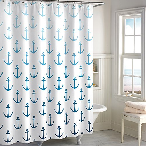 CHF Destinations Ombre Anchor Fabric Shower Curtain, 72 x 72 inches, Navy