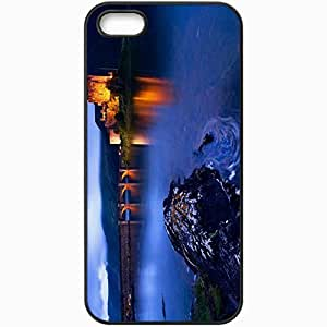 Protective Case Back Cover For iPhone 5 5S Case Castle Scotland Bridge Evening Black