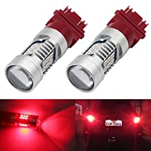 Boodled 2X Extremely Bright RED 3030 Chipsets 3056 3156 3057 3157 4157 LED Bulbs with Projector, Xenon White 840LM ( 2X3157-21-3030-R )