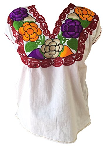 Floral Mexican Zinacantan Blouse - Embroidered - Authentic - Handmade - Cotton - White (Small/Medium)