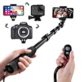 Selfie Stick, Arespark Wireless Extendable Selfie Monopod Portable Selfie Pole for Gopros, DSLR, Cameras & iPhoneX 8 7 Plus Android Samsung Galaxy S9 S8 Plus Cellphones with Bluetooth Remote Control, Extends to 50 Inches, Best Gifts