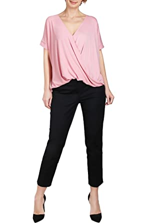 ec49db75a55e4 BodiLove Women's Surplice Front V Neck Top with Roll Up Sleeve Casual  Blouse at Amazon Women's Clothing store: