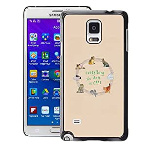 A-type Arte & diseño plástico duro Fundas Cover Cubre Hard Case Cover para Samsung Galaxy Note 4 (Cats Love Yellow Animal Pattern Text)
