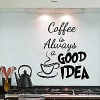 """ملصقات جدارية من بلاستيك بي في سي قابلة للإزالة بمقاس 35 × 40 سم وبعبارة """"Coffee Is Always A Good Idea"""" لتزيين المنزل…"""
