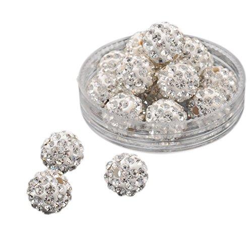 Pandahall 100 Pcs 10mm Crystal Pave Disco Ball Clay Beads, Polymer Clay Rhinestone Beads Round Charms Jewelry Makings