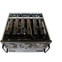 6U GPU Bitcoin Mining Rig Server Case – 6 Fans Pre-Installed – Cooling vents w/ Dropdown Fan Backplate for Easy Internal Access – 6 GPU Compatible, with 6 PCI-E 16x to 1x Risers (Ethereum, ETH, Zcash)