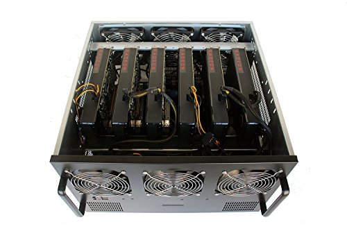 6U GPU Bitcoin Mining Rig Server Case - 6 Fans Pre-Installed - Cooling vents w/ Dropdown Fan Backplate for Easy Internal Access - 6 GPU Compatible, with 6 PCI-E 16x to 1x Risers (Ethereum, ETH, Zcash)