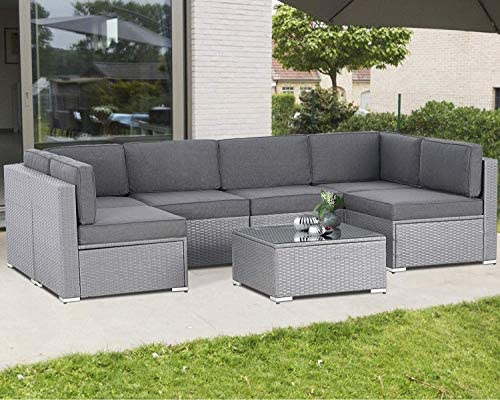 Incbruce Outdoor Patio Furniture Set 7-Piece All-Weather Sectional Sofa Outside Couch
