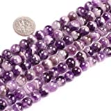 Gem-Inside 8mm Round Natural Amethyst Beads Strand 15 Inches Jewelry Making Beads