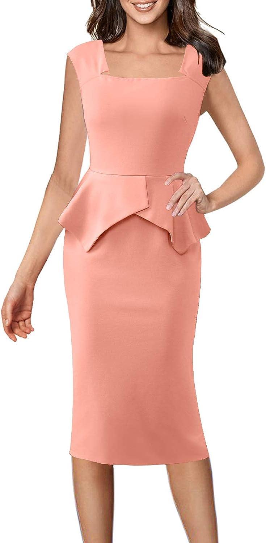 VFSHOW Womens Square Neck Peplum Side Slits Wear to Work Midi Sheath Dress