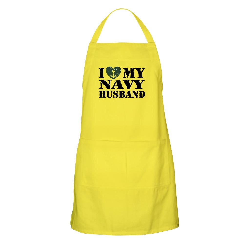 CafePress I Love My Navy Husband エプロン グリルエプロン イエロー 048420014629A30  レモン B077W1DJ79