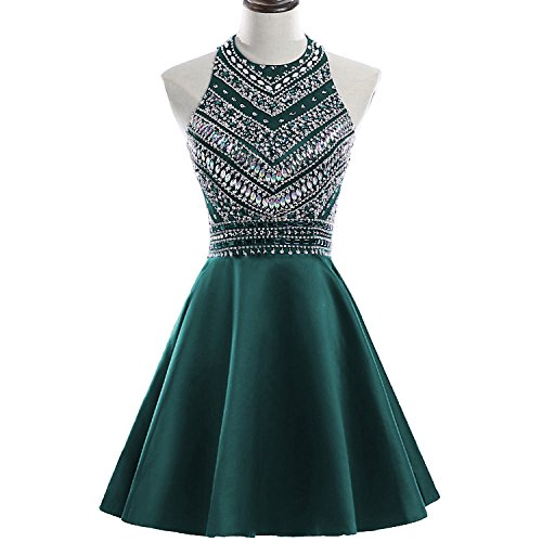 Teal Dress Homecoming (HEIMO Women's Sparkly Beaded Homecoming Dresses Sequined Prom Gowns Short H212 16 Teal)