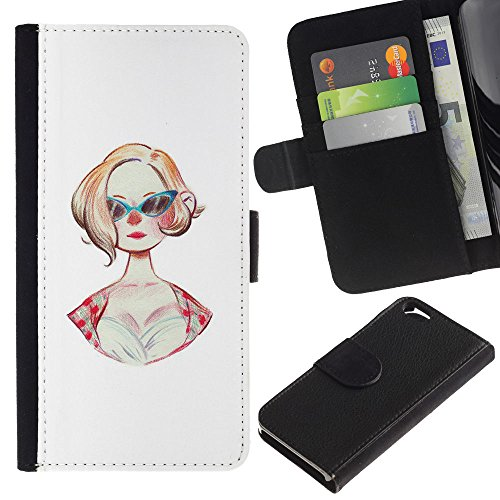 RenCase / Flip Wallet Diary PU Leather Case Cover With Card Slot for Apple Iphone 6 4.7 - Sunglasses 50S Fashion Hairstyle Pin Up Dress